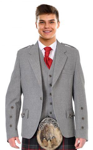grey kilt jacket and vest