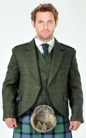 Green tweed kilt jacket