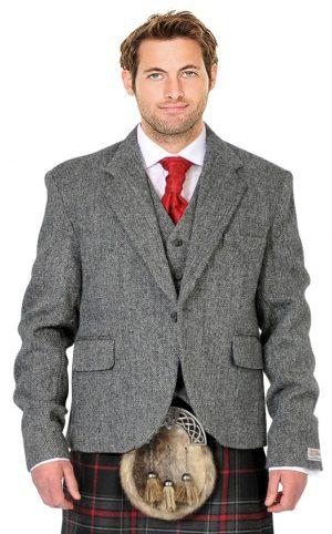 grey harris tweed kilt jacket and vest