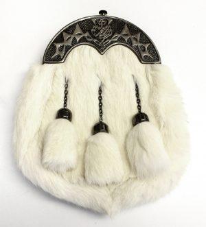 Ex Display Antique Thistle White Rabbit Fur Sporran
