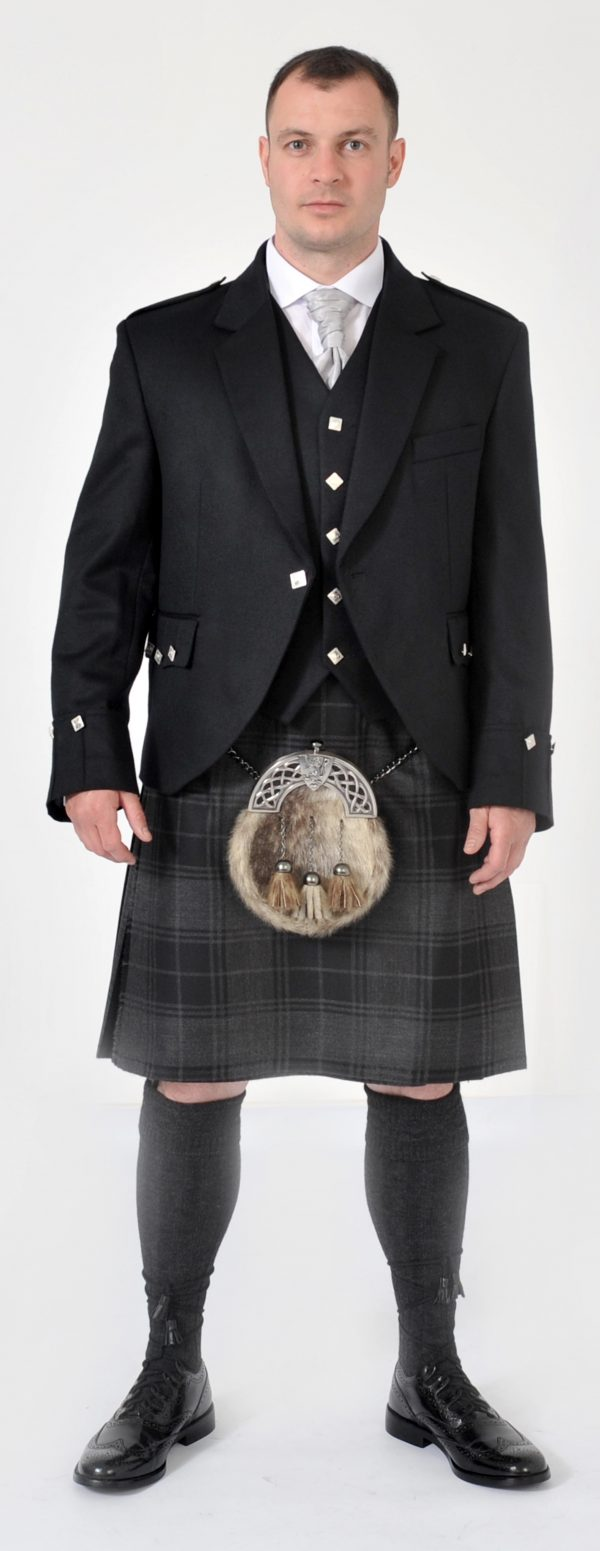 8 Yard Grey Highlander Wool Kilt
